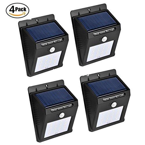 TFBOYS Motion Sensor Light 16 LED Outdoor Solar Wall Lights Wireless Waterproof Security Bright Solar Motion Sensor Night Lights 4 pack