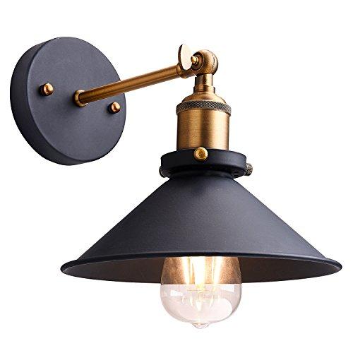 Metal Wall Sconce Lighting ShadeOak Leaf 180 Degree Adjustable Industrial Vintage Sconce Light Wall Lamp