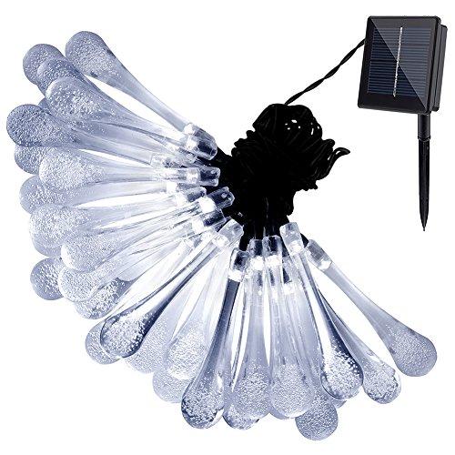 Gdealer Solar Outdoor String Lights 20ft 30 Led White Water Drop Solar String Fairy Waterproof Lights Christmas