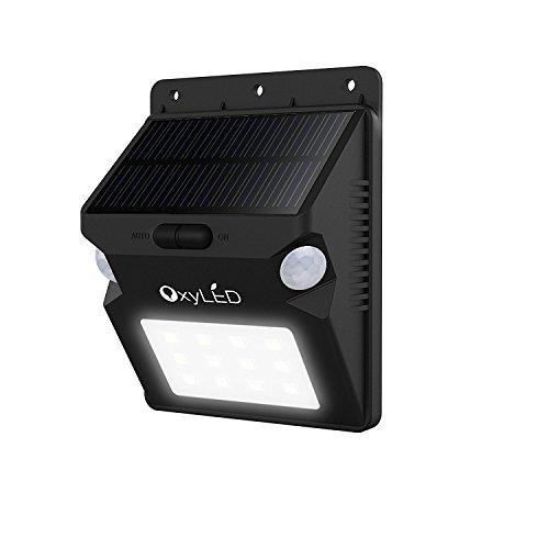OxyLED SL07 20 LEDs Solar Outdoor Wall Light Security Lighting Wireless Waterproof 210 Degree Motion Sensor Patio Wall Light Fixture Landscape Path Light for Patio Deck Yard Garden