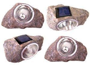 2 Pack Solar Powered Rock Outdoor Garden Accent Pathway Deck Dock Patio Landscape Light
