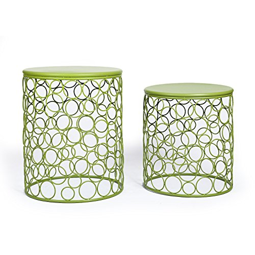 Adeco Home Garden Accents Circle Wired Round Iron Metal Nesting Stool Side End Table Plant Stand Bubble Pattern For Indoor Outdoor Olive Drab Green SET OF TWO