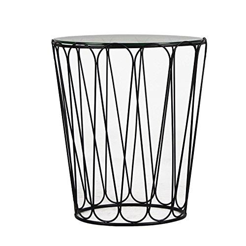 DecentHome Home Garden Accent Metal End Table Black