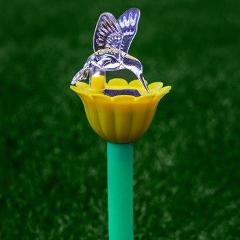 6 Hummingbird  Flower Solar-Powered Garden Stake Pathway Walkway Lights