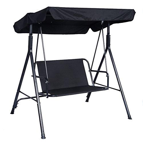 Giantex 2 Person Outdoor Patio Swing Canopy Awning Yard Furniture Hammock Steel Black
