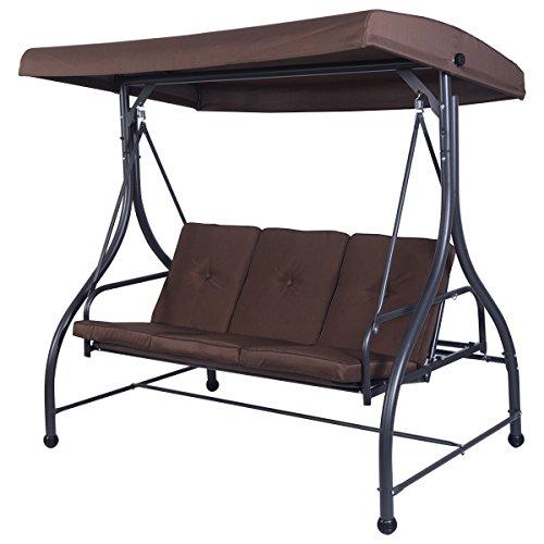 Tangkula Converting Outdoor Swing Canopy Hammock 3 Seats Patio Deck Furniture brown