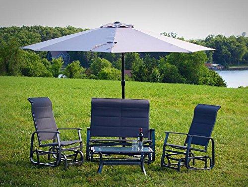 4pc Patio Glider Conversation Seating Furniture Set with Offset Umbrella - Grey