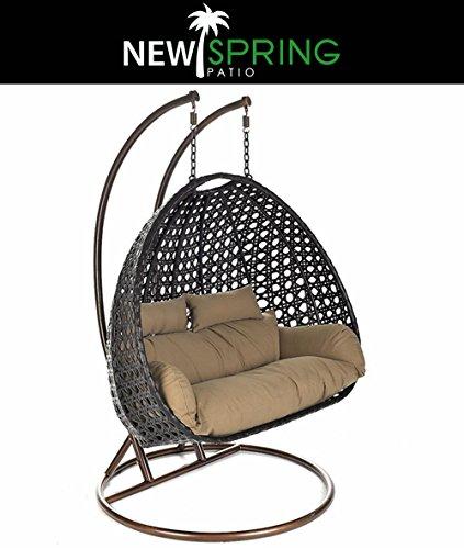 Heavy Duty Outdoor PE Rattan 2 Person Swing Chair with Cushion-2 Poles-2 BONUS PillowsBlack
