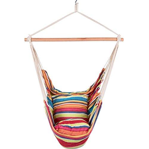 LazyDaze HammocksCotton Hanging Hammock Swing Chair with Cushions Rainbow