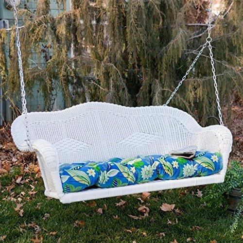 Blazing Needles Outdoor Wicker Porch Swing Cushion - Tropique Raven