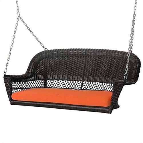 Jeco Wicker Porch Swing in Espresso with Orange Cushion