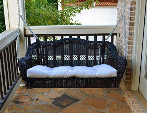 Tortuga Portside Porch Swing Dark Roast Wicker with Custom Cushion Fabric