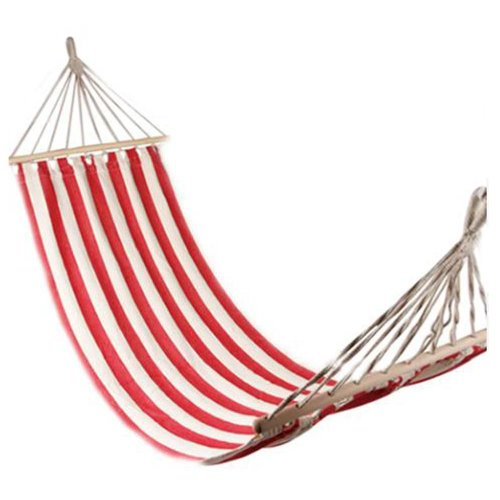 Flexzion Portable Swing Hammock Leisure Hanging Canvas Wooden Single Red And White Stripes 7878&quot X 315&quot For