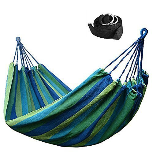 Luckymoo Double Canvas Travel Hammock  Outdoor Bed 98559 Inches 400lbs  2 Hammock Tree Straps Rainbow Color Blue Blue