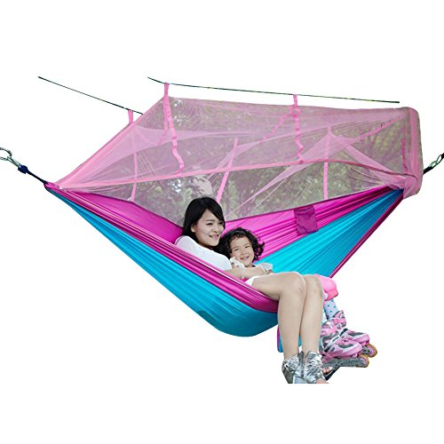 Wangqiang 260130cm Portable Parachute Nylon Jungle Hammock With Mosquito Nets