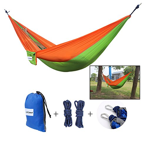 Hqdeal Portable 2 Person Parachute Nylon Fabric Camping Hammock Singledouble Hammock Swing 445lbs For Outdoor