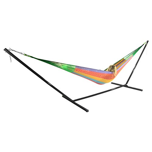 Sunnydaze Hand-Woven 2 Person Mayan Hammock with Stand Double Size Multi-Color 400 Pound Capacity