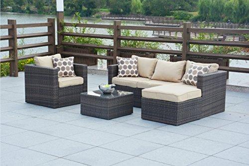 Direct Wicker 4 Piece Outdoor Patio Garden Furniture Wicker Rattan Sectional Sofa Set-BrownBeige cushion