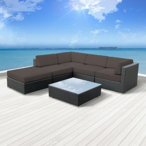 Luxxella Patio Beruni Outdoor Wicker Furniture 6-Piece All Weather Couch Sectional Sofa Set  Dark Grey