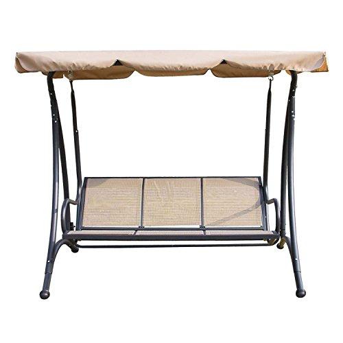 Walcut Outdoor 3 Person Canopy Swing Chair Patio Backyard Mesh Seat Beach Porch Furniture