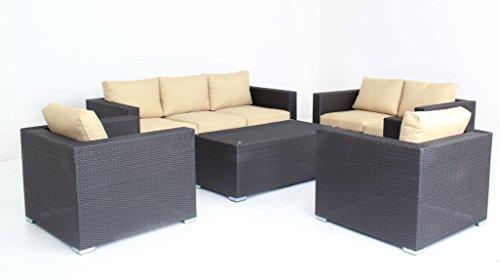 5pc Modern Outdoor Backyard Wicker Rattan Patio Furniture Sofa Set