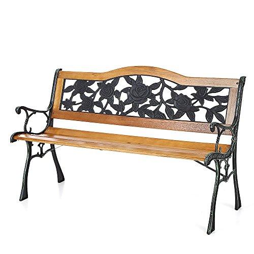 Ikayaa 496in Cast Iron Wood Outdoor Patio Park Garden Bench Furniture Deck Porch Backyard Lawn Chair Rose Pattern