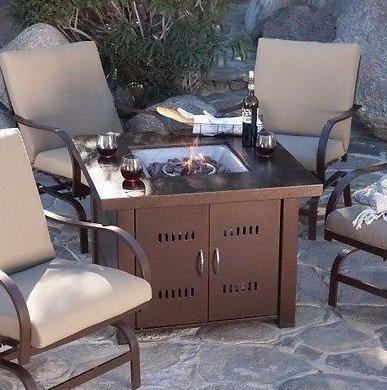 Patio Fire Pit- Premium Outdoor Fire Pit Table Patio Deck Backyard Heater Fireplace Propane Lp Furniture-fire
