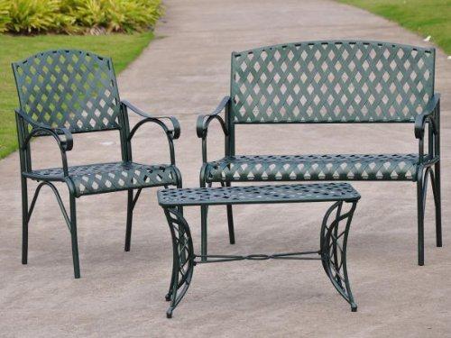 Diamond 3 Piece Iron Loveseat Set - Loveseat Coffee Table And 1 Chair - Patio Furniture