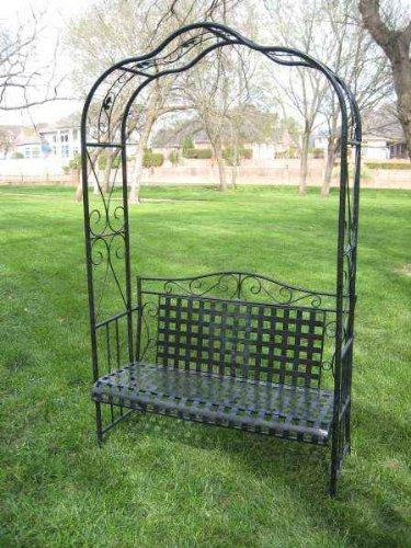 Mandalay Iron Patio Arbor Bench In Antique Black - Patio Furniture