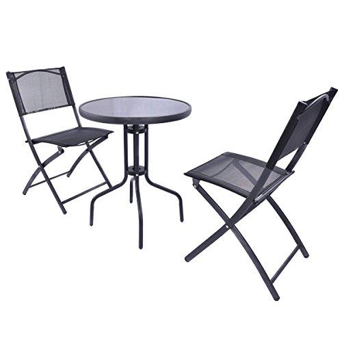 Giantex 3 Pcs Bistro Set Garden Backyard Table Folding Chairs Outdoor Patio Furniture