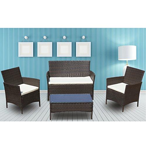 URattan 4PC Outdoor Rattan Wicker Patio Furniture Set Cushioned Sofa Table Garden Lawn Brown