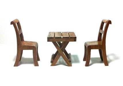Fairy Mini Garden Furniture Wooden Outdoor table set 3pcs