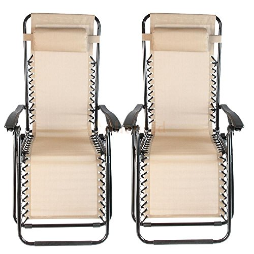 FCH 2-PACK Folding Adjustable Zero Gravity Recliner Chair Outdoor Lounge Patio Pool Beach Yard Chair With cup holderUtility Tray TAN