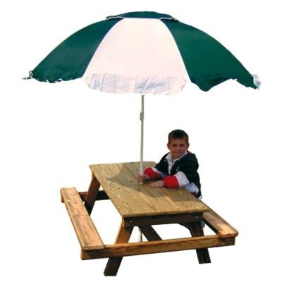 Childrens PINE Picnic Table with Umbrella - REAL DURABLE PINE WOOD