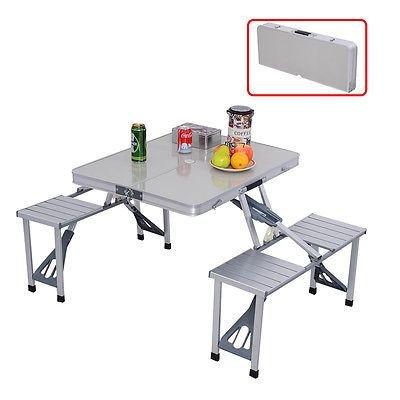 COSTWAY Outdoor Garden Aluminum Portable Folding Camping Picnic Table W 4 Seats