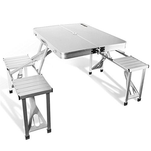 Coavas Outdoor Garden Aluminum Portable Folding Camping Picnic Table With 4 Seats