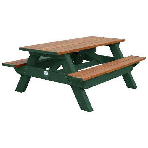 Deluxe 6 Picnic Table Cedar Top BenchGreen Frame