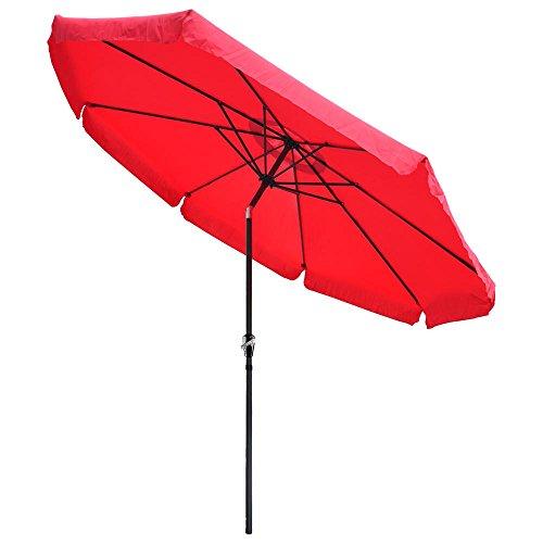 10ft Red Sunshade Umbrella Metal Pole Outdoor Garden Yard Patio Beach Market Cafe 10