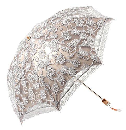Feeten Lace Anti UV Sun Rain Wind Protection Sunshade Umbrella Grey