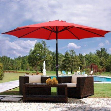 Generic 9ft Red Sunshade Umbrella Metal Pole Outdoor Garden Yard Patio Beach Market Cafe 9