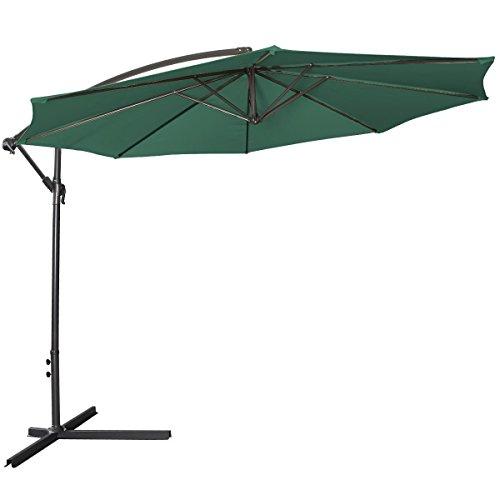 Giantex 10ft Outdoor Patio Sun Shade Umbrella Hanging Offset Crank W Corss Base Garden Green