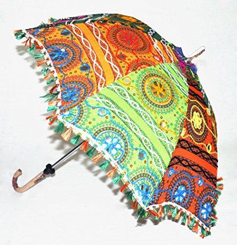 Indian Handmade Sun Shade Umbrella Adorn Traditional Embroidery Work 24 x 28 Inch