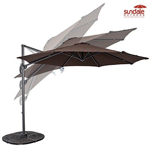 Sundale Outdoor 10ft Hanging Roma Offset Umbrella Outdoor Patio Sun Shade Cantilever Crank Canopy coffee