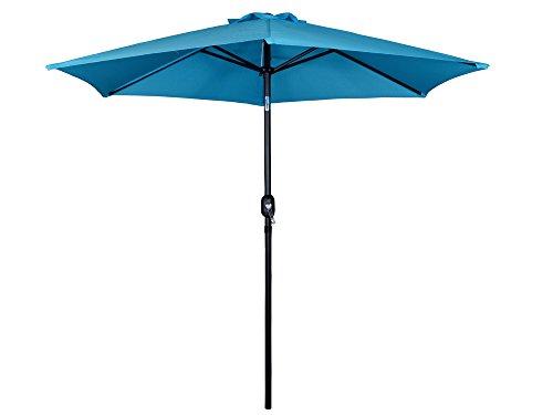 Tms Beach Umbrella Aluminum Outdoor 8ft Crank Tilt Sunshade Cover Patio Market Umbrella Blue