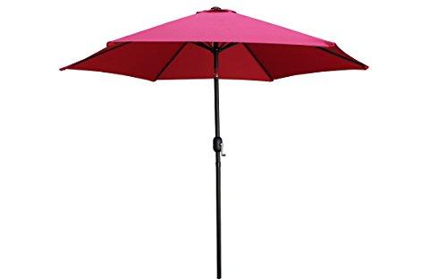 Tms Beach Umbrella Aluminum Outdoor Beach Patio 9ft Crank Tilt Sunshade Cover Yard Hexagon Shaped Umbrellaburgundy