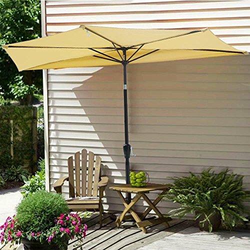 Yescom 10ft Beige Outdoor Patio Half Umbrella Cafe Wall Balcony Door 5 Ribs Tilt Aluminum Sun Shade