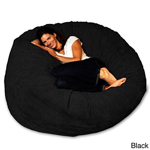5-foot Memory Foam Bean Bag Chair Black Micro Suede