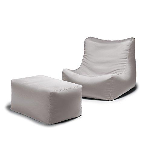 Jaxx Ponce Outdoor Bean Bag Lounge Chair & Leon Ottoman, Pearl