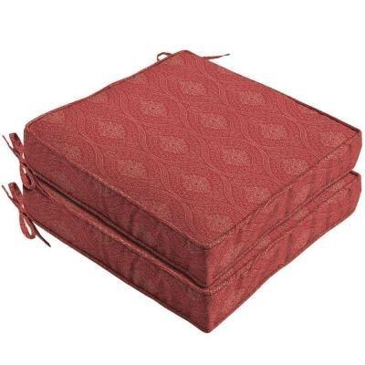 Hampton Bay Chili Stitch Ogee Outdoor Seat Cushion 2-pack