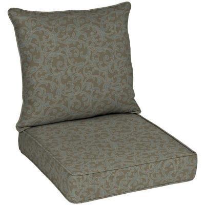 Hampton Bay Waterfall Scroll Quick Dry Outdoor Deep Seat Cushion Set
